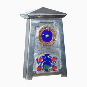 Art Nouveau Kaminuhr aus Zinn & Emaille