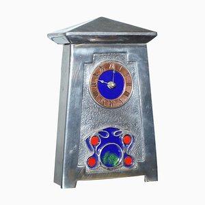 Art Nouveau Pewter and Enamel Mantle Clock