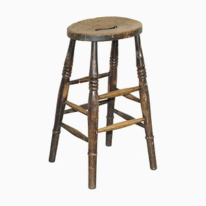 18th Century Engligh Painters Artist Stool with Handle Cut Out in the Top