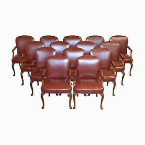 Leather Chairs from Princess Diana's Family Home, Spencer House Painted Room, Set of 14