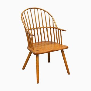 18th Century Yew Wood Windsor Armchair with Stick Back Design