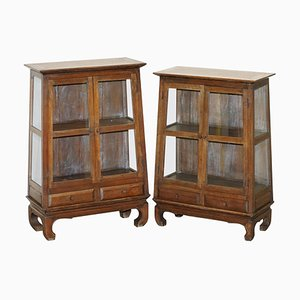 Chinese Temple Alter Style Glazed Door Bookcase Sideboards, 1900s, Set of 2