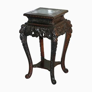 Antique Chinese Hand Carved Wood Jardinière Stand Display, 1880s