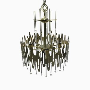 Italian Modern Brass and Metal Chandelier from Sciolari, 1970s