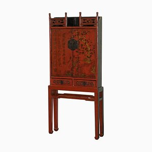 18th Century Chinese Shanxi Province Red Lacquer Cabinet on Stand