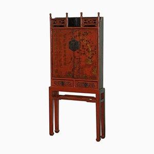 Rot lackierter chinesischer Schrank aus Shanxi, 18. Jh