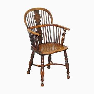 English Country House Burr Yew Wood & Elm Windsor Armchair, 1860s