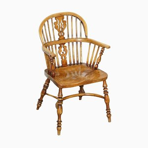 Antique Victorian Elm Hoop Back Windsor Armchair, 19th Century