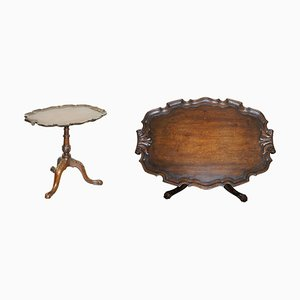 Antique Carved Hardwood Tilt-Top Tripod Table with Claw and Ball Feet, 1840s
