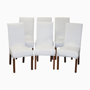 Contemporary Bicast Leather Dining Chairs with Custom-Made Covers, Set of 6