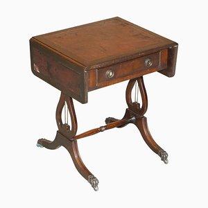 Vintage Beistell- oder Spieltisch aus Rindsleder mit ausziehbarer Tischplatte