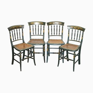 Handbemalte Regency Bergère Stühle aus Rattan, 1810er, 4er Set