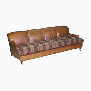 Large Tan Brown Leather 4-Seater Sofa in Tartan Wool with Feather Cushions from Howard & Sons
