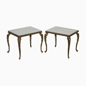 French Brass Framed Side Tables with Italian Marble Tops, 1900s, Set of 2