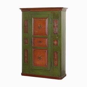 Austrian Floral Hand-Painted Hall Cupboard or Wardrobe in Green, 1800s
