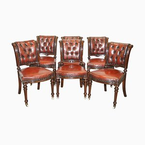 Antique Victorian Restored Brown Leather Chesterfield Dining Chairs, Set of 6