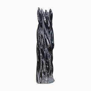 Estatua de Orthoceras fosilizada grande de 395 millones de años con acabado de mármol