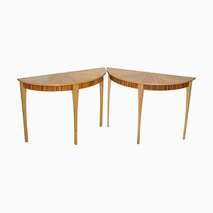 Phoenix Zebrano Wood Demilune Console Tables by Bevan Funnell, Set of 2
