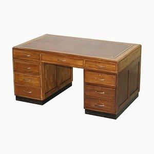 English Mid-Century Modern Double Sided Partner Desk in Oak & Oxblood Leather