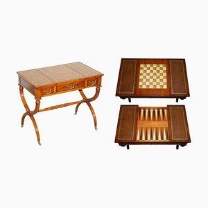 Table de Jeux ou Bureau Directoire Vintage en Cuir Marron, France