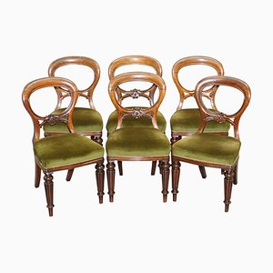 Antique Victorian Balloon Medallion Back Dining Chairs, 1860s, Set of 6