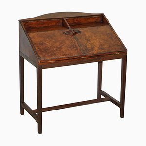 Hand Dyed Brown Leather Writing Desk with Twin Drawers