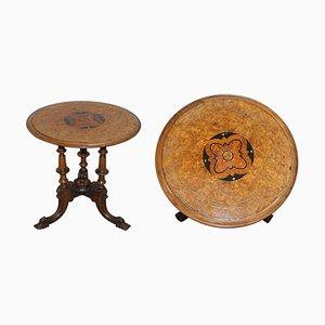 Viktorianischer Dreibein-Beistelltisch aus Wurzel- & amp; Nussholz mit Pillarded Base & Ornate Carving