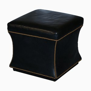 Victorian Style Black Leather Florence Ottoman or Footstool from Ralph Lauren