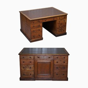 Antique Victorian English Double Sided Twin Pedestal Kneehole Desk in Oak with 18 Drawers