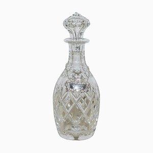 Antike Karaffe aus geschliffenem Kristallglas mit Port Sterling Hängeetikett, 1974