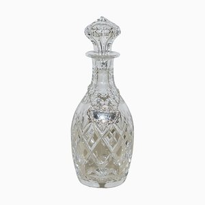 Antique Cut Crystal Glass Decanter with Port Sterling Hanging Label, 1974