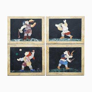 Antike italienische Pietra Dura Marmorfliesen oder Wandtafeln mit Feuerfresser, Jongleur & Narr, 4er Set