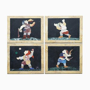 Antique Italian Pietra Dura Marble Tiles or Wall Plaques Depicting Fire Eater, Juggler & Jester, Set of 4