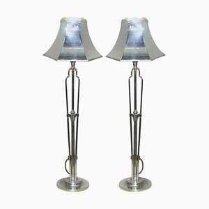 Tall Machine Age Polished Chrome-Plated Table Lamps, 1930s, Set of 2