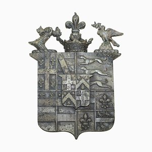 Armorial Crest or Coat of Arms in Solid Bronze with Verdigris