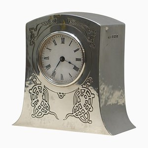 Miniature Tudric Style Carriage Clock in Solid Sterling Silver from Liberty London, 1915