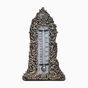 Sterling Silver Repousse Barometer with Cherubs & Grapevines, 1888