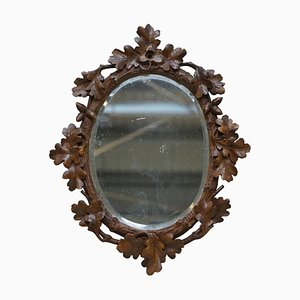 Antique Black Forest Hand Carved Wall Mirror in Wood