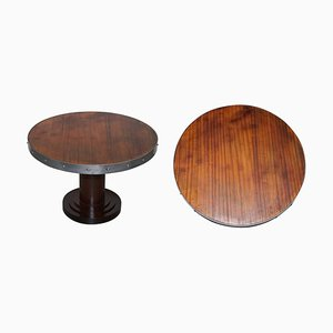 Studded Hardwood Coffee or Side Table with Wrought Iron Strap Work