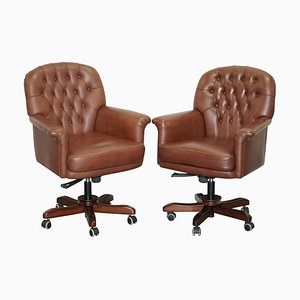 Brown Leather Chesterfield Captain's Armchair