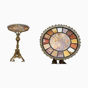 Italian Regency Cast Brass & Specimen Marble Side Table, 1820s