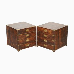Anglo Indian Military Campaign Chests of Drawers or Side Tables, 1900s, Set of 2