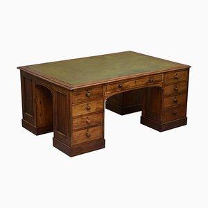 Victorian 4-Sided Pedestal Desk in Flamed Hardwood & Green Leather