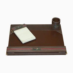 Braunes Leder & Messing Schreibwaren von Gucci, 1960er, 3er Set
