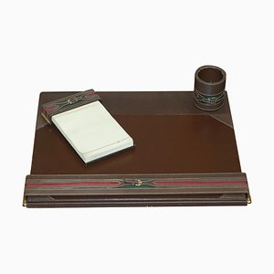 Brown Leather & Brass Desk Stationery from Gucci, 1960s, Set of 3
