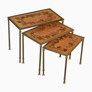 Antique French Regency Bronze & Pressed Flower Nesting Tables, 1920s, Set of 3