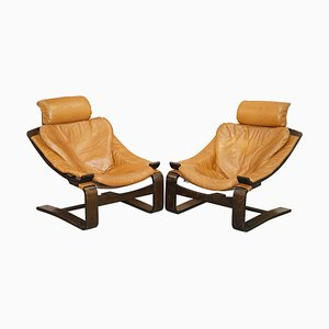Mid-Century Swedish Cognac Leather Armchairs by Ake Fribytter for Nelo Mobel, Set of 2