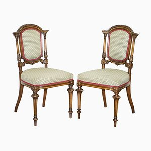 Victorian Walnut Giltwood Side Chairs with Carved Frames, Set of 2