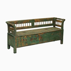 19th Century Pine and Green Paint Bench