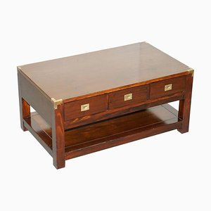 Hardwood and Brass Coffee Table with Drawers
